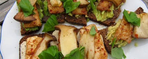 Rezept: Pilze & Tofu auf getoastetem Avocado-Sojanäse-Volkornbrot